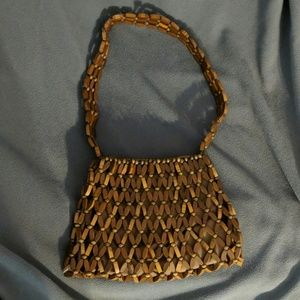 Vintage Wooden Beaded Purse